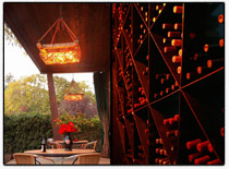 Picture of the wine racks at Barndiva in Healdsburg (Sonoma County) where Noah DJed Rich and Claudine's wedding.
